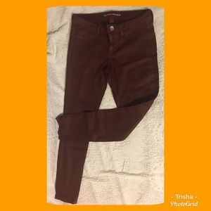 Banana Republic, coated wine skinny jeans. Size 27